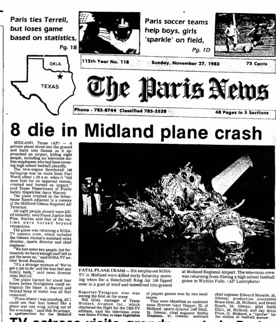 Plane crash that happened when my dad was general manager of kosa tv