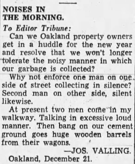 1934-12-24 Oak complaint of scavenger noise -