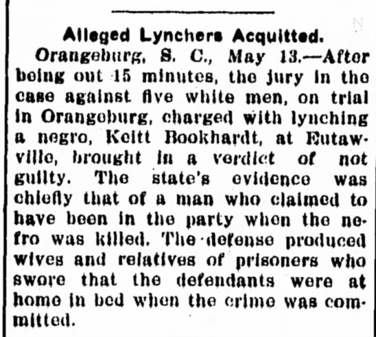 Lyncing of Keitt Bookhardt
