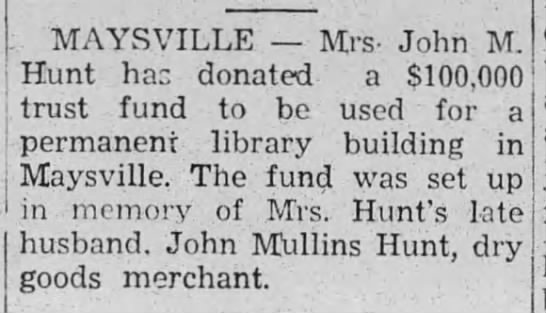 Library fund in his memory - May 28, 1948 -