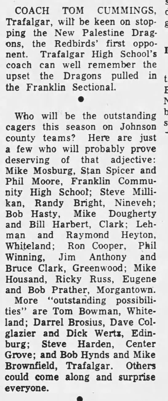 Outstanding players for THS 1964 -