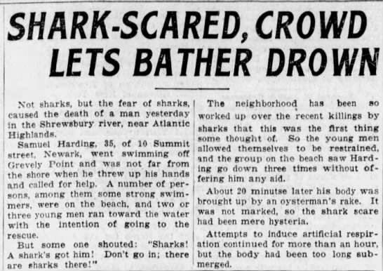 """Shark-scared, crowd lets bather drown"" -"