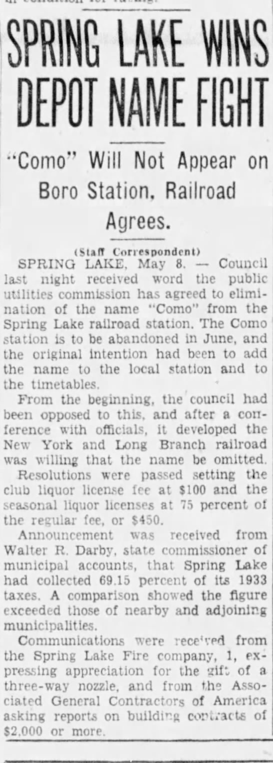 Como station name, May 8, 1934 -