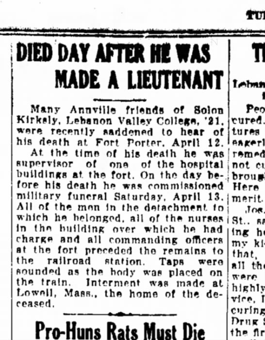 1918 May 21 Solon Kirkely LVC '21 Died Day after made Lt -