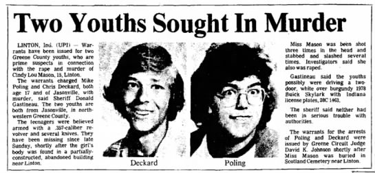 Two Youths Sought In Murder - Logansport Pharos-Tribune, 7 July 1983, pg 6 -