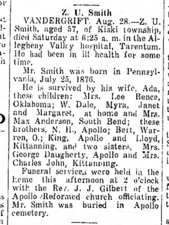Zachariah Unias Smith Obit 28 August 1933 - 7,. U. Smith VANDERGRIFT, Aug. 28.—Z. U....