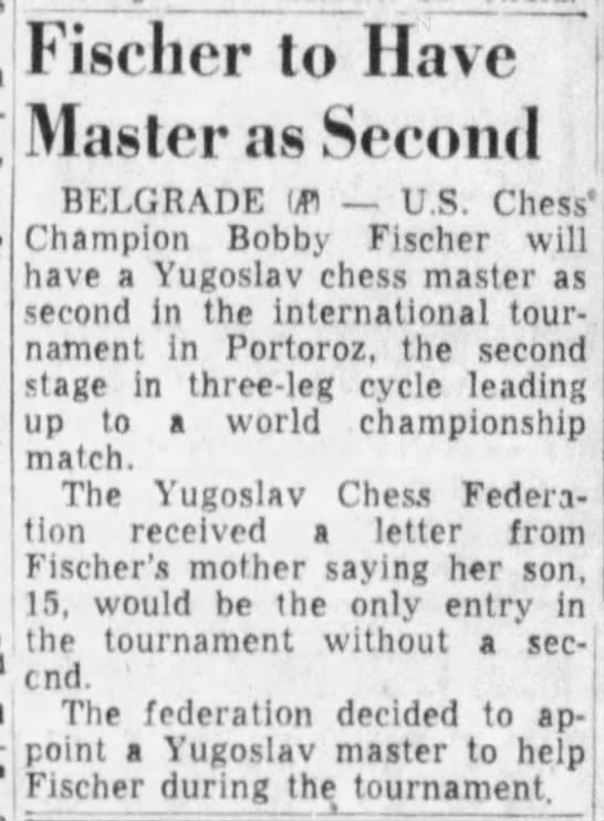 Fischer to Have Master as Second -