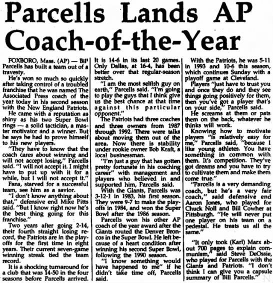 Parcells Lands AP Coach-of-the-Year -