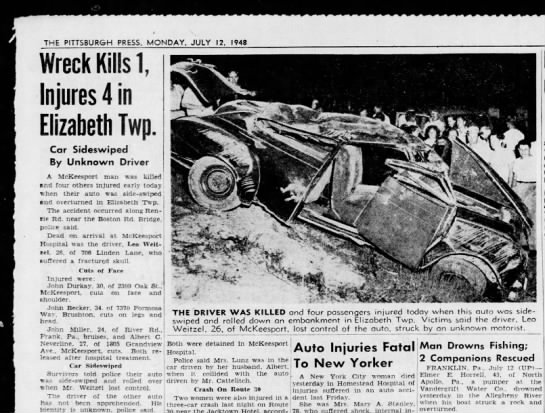 Leo Weitzel car accident 7/12/1948 - Newspapers com