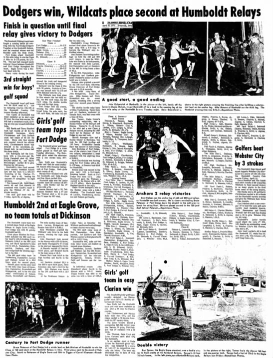 April 21, 1971 Humboldt Relays Eagle Grove Relays Junior Year - 1 . I Dodgers win, Wildcats place second at...