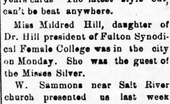 Mexico Weekly Ledger, Mexico, Missouri 21 Dec. 1876 Mildred visits -