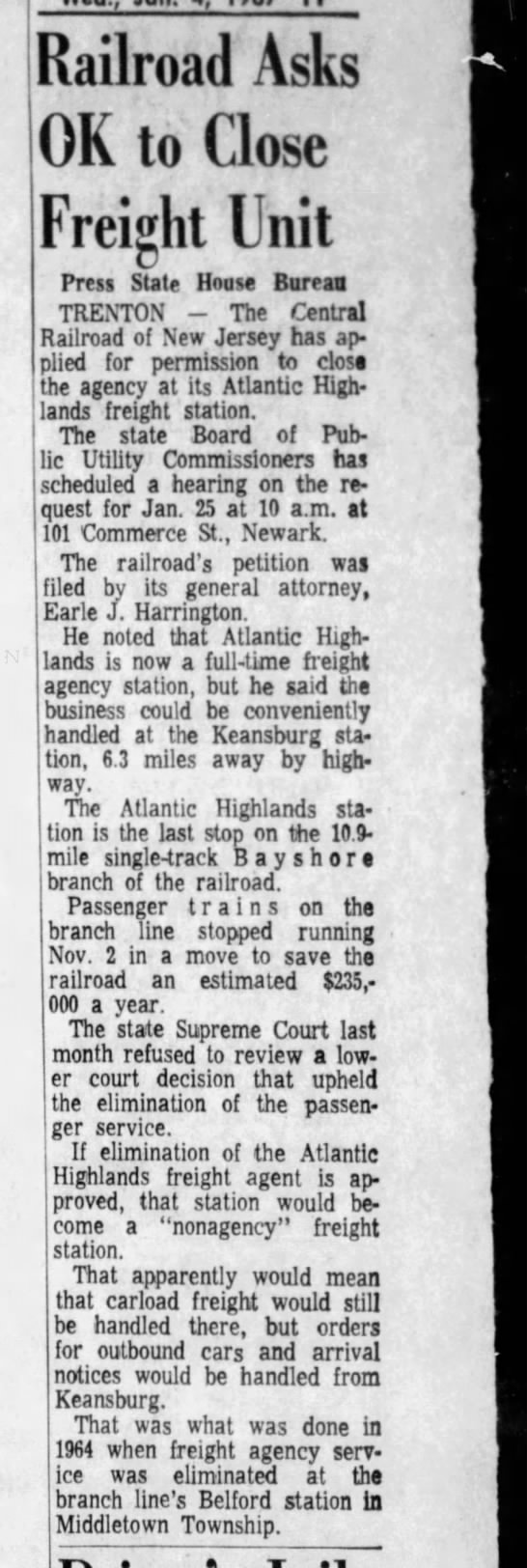 Atlantic Highlands freight, January 4, 1967 -