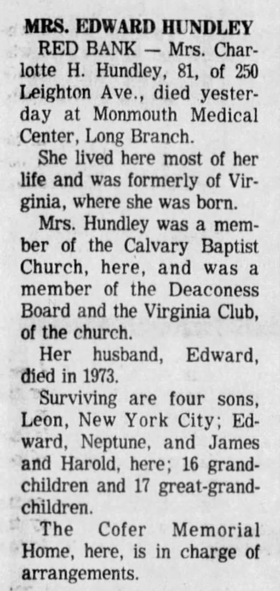 Charlotte Hughes Hundley Dec 26 1976 full obit -