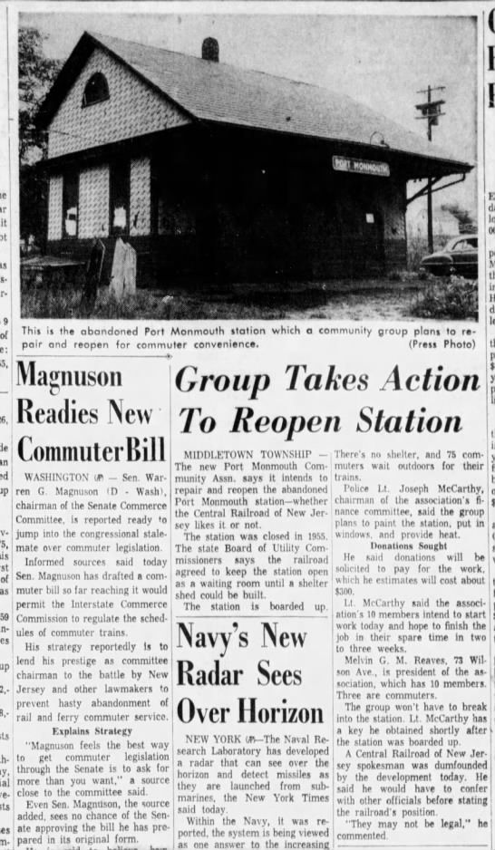 Port Monmouth reopen? January 18, 1960 -
