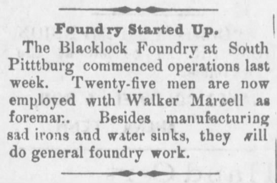 Start up of Blacklock foundry. -