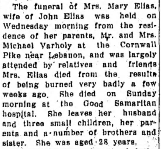 - The funeral of Mrs. Mary Ellas, wife of John...