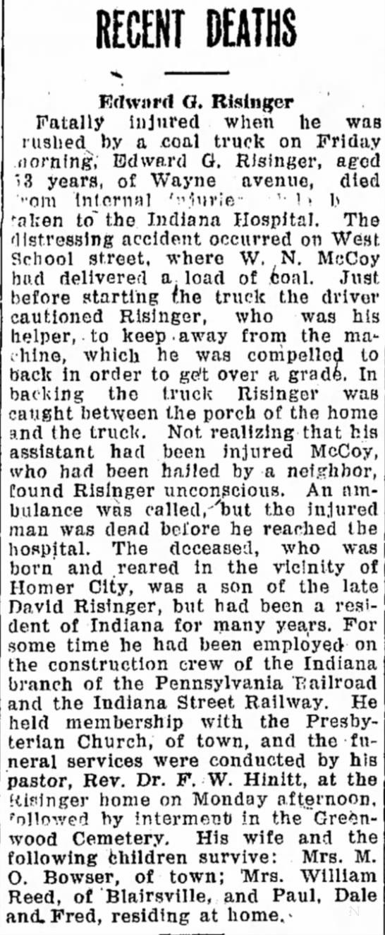 Edwaqrd Reisinger obit Indiana weekly Messenger 2 Feb 1928 -