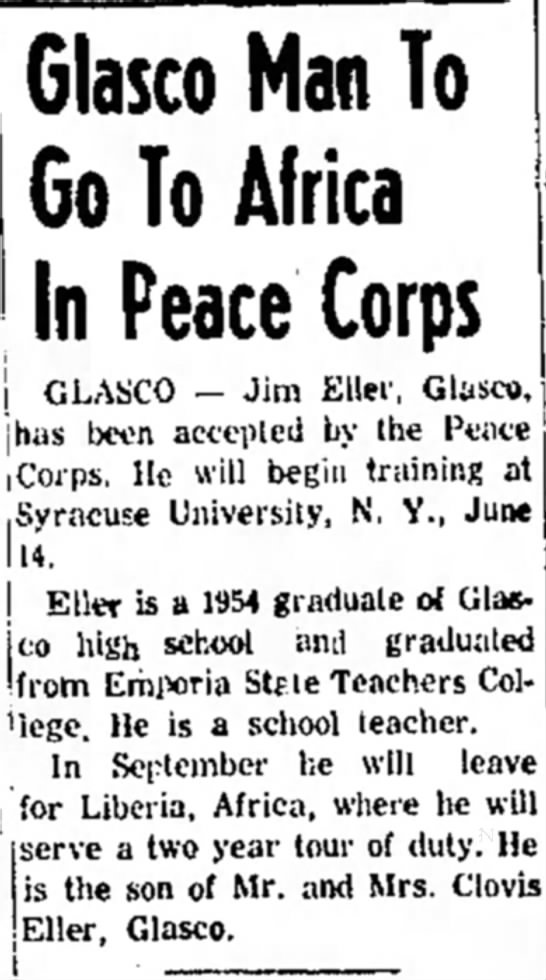James Eller Accepted by Peace Corps. -