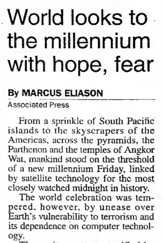 "World Waits for ""...the most closely watched midnight in history."" -"