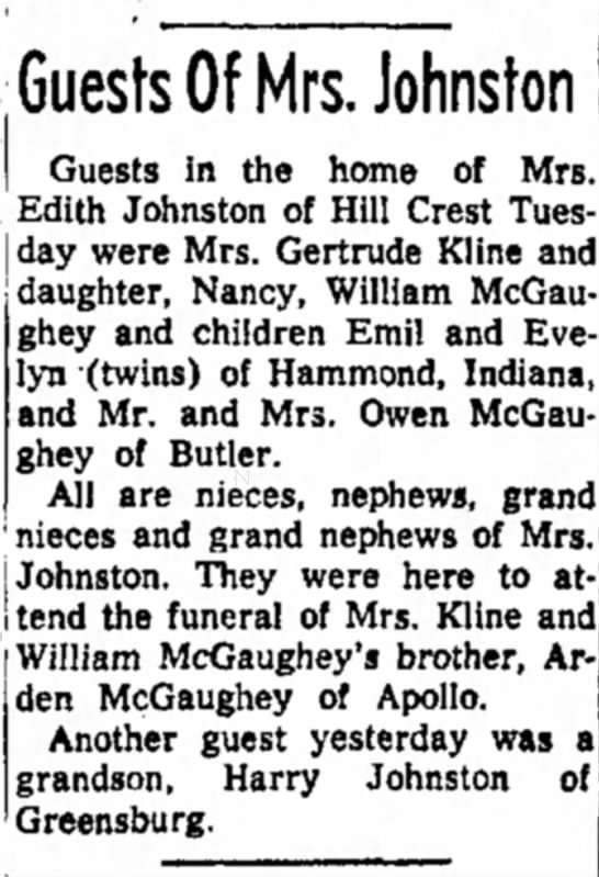 Guests of Mrs. Johnston - for Arden McGaughey's funeral dated 11 Apr 1956 -