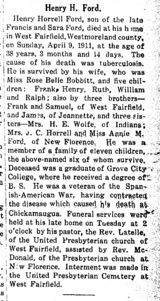 Rose Belle Bobbitt - husband Henry Horrell Ford, son of Francis & Sara Ford - 5 children -