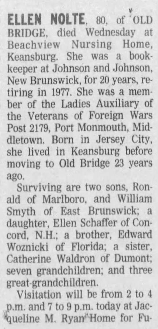 Ellen Nolte obit part 1 - 12 JAN 2001, Asbury Park Press (Ashbury Park NJ) Pg 27 -