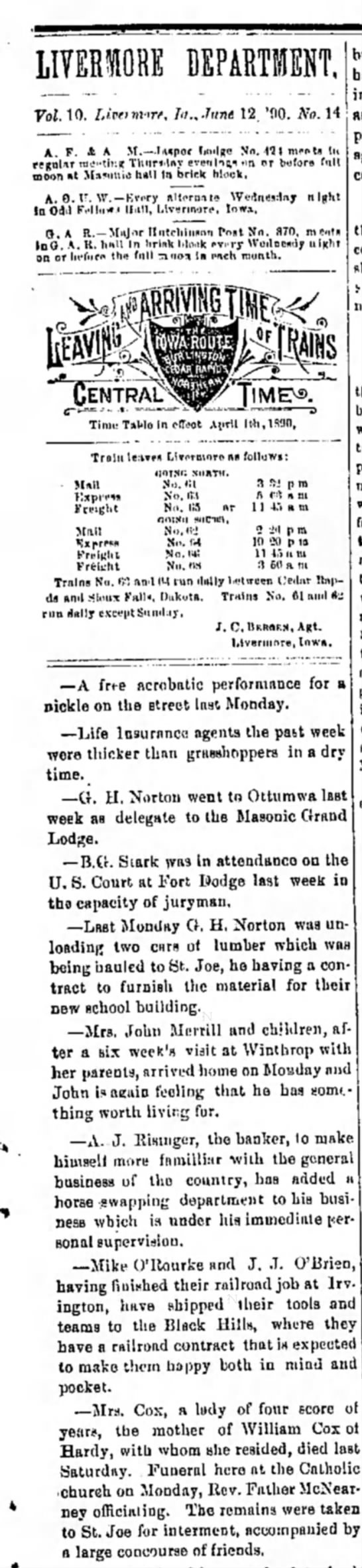 12 June 1890 Humboldt Independent -