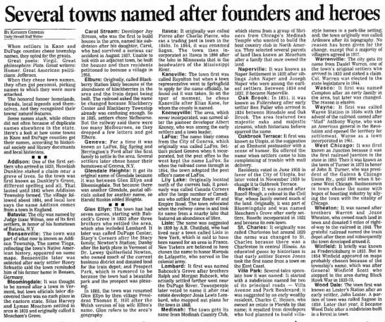 Kane/DuPage county (IL) toponym origins -