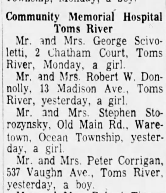 My Birth announcement APP Wed July 6,1966. Old Main Rd. Waretown, Ocean Twsp -