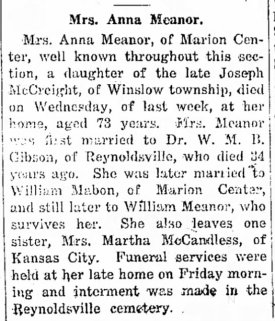 McCreight, Anna - Indiana Weekly Messenger (Indiana, PA) - 1919 01 02 -
