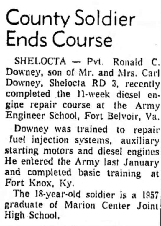 Ronald Downey news - County Soldier Ends Course SHELOCTA — Pvt....
