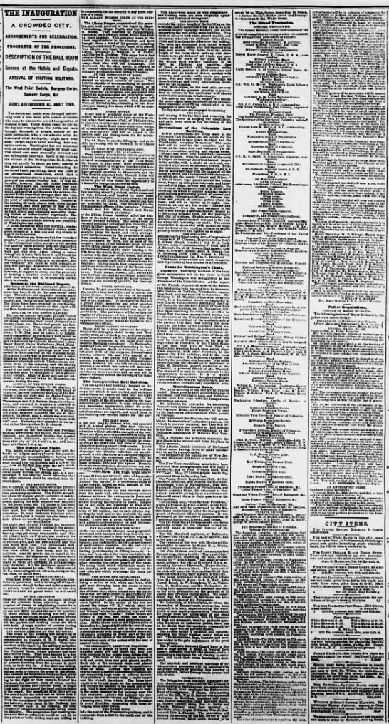 The Inauguration, Evening Star (Washington, DC) March 3, 1873, page 4 -