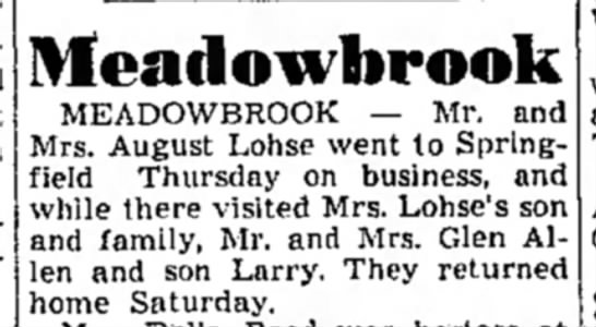 Lohse - August and Altia visit - 29 Jan 1952 - Moailowlirook MEADOWBROOK — Mr. and Mrs. August...