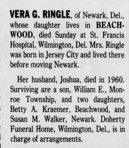 Vera G. Ringle Obituary - 1992 -
