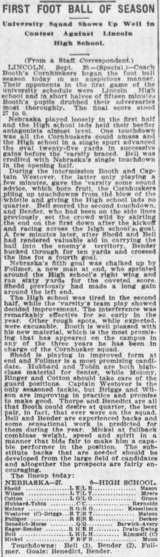 1902 Nebraska vs Lincoln High -