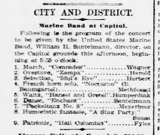 NEW Baumgartel Solo Marine Band - CITY AND DISTRICT. Marine Band at Capitol....