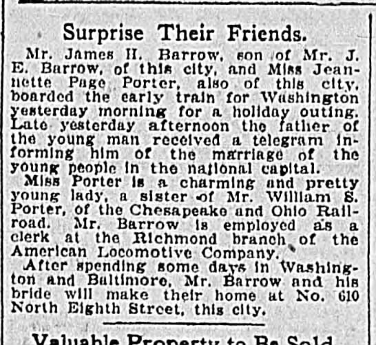 Wedding Announcement from The Times Dispatch (Richmond, Virginia)  5 July 1905, Wed Page 9 -