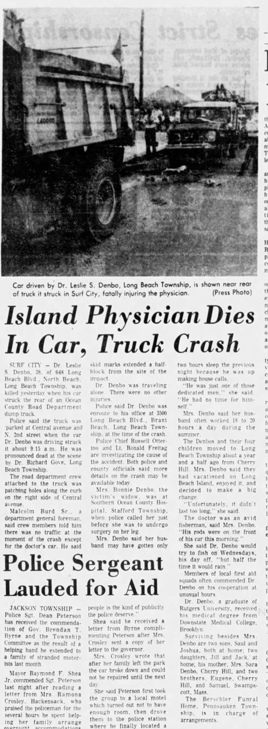 Dr Leslie Denbo Dies In Car Crash Asbury Park Press Newspapers Com