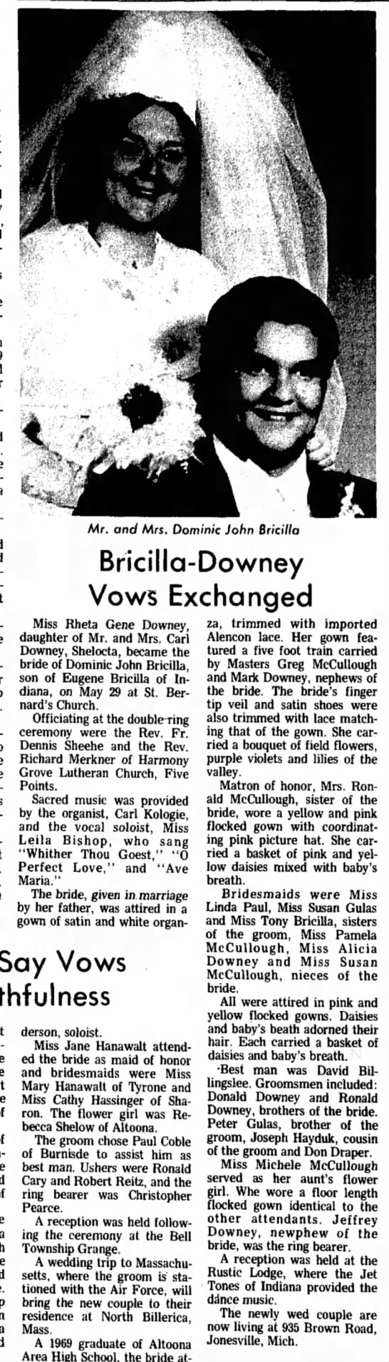 Rheta and Dominic Bricillo wedding announcement-29 Jun 1971-Indiana Gazette -