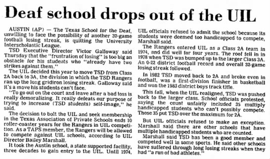Texas SD Leaves UIL - Deaf school drops out of the UIL AUSTIN (AP) -...