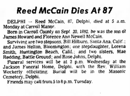 Reed McCain obituary -