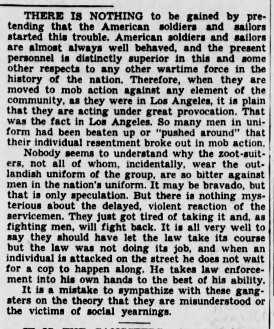 Excerpt from a column supporting servicemen's acts of violence in the Zoot Suit Riots -