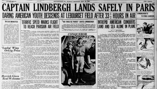 Lindbergh lands safely in Paris -