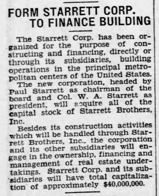 Form Starrett Corp. to finance building -