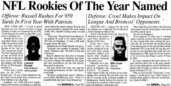 NFL Rookies Of The Year Named -