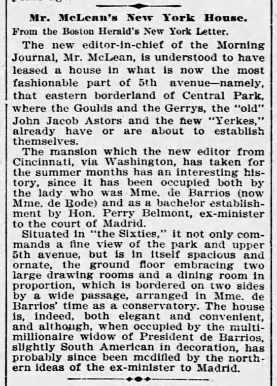 Mr. McLean's New York Home. The Evening Star. (Washington, D. C.) 25 May 1895, p 6 -