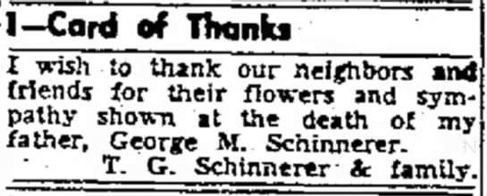 Newspaper Clipping - George M Schinnerer -