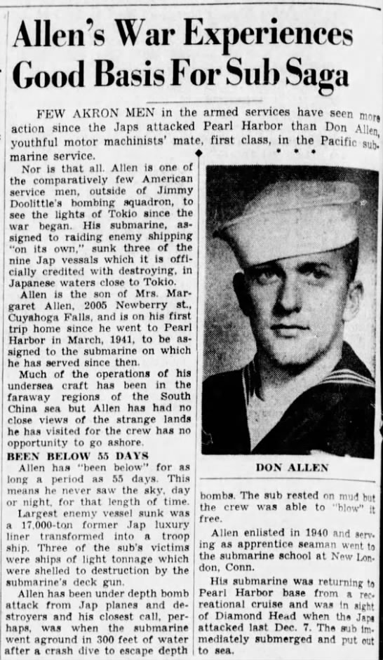 Ohio Sailor, Don Allen, Sees Action Aboard Submarine -