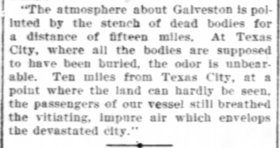 Dead bodies from 1900 Galveston Hurricane create stench smelled 15 miles away -