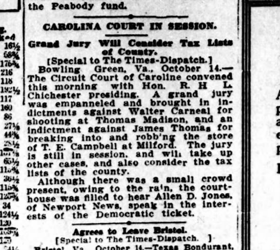 Walter Carneal - indicted for shooting, Tues., Oct. 15, 1912 -